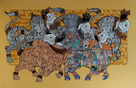 Vivek Kumavat | Acrylic Painting title Dancing Nandis 5 on Canvas | Artist Vivek Kumavat Gallery | ArtZolo.com