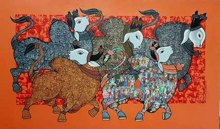 Religious Acrylic Art Painting title Bulls by artist Vivek Kumavat