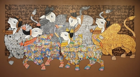 Animals Acrylic Art Painting title 'Nandi 61' by artist Vivek Kumavat