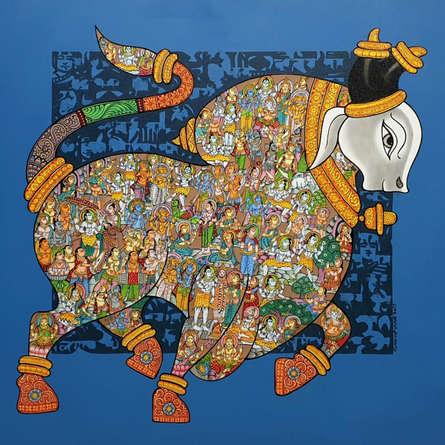 Animals Acrylic Art Painting title 'Nandi 62' by artist Vivek Kumavat