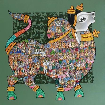 Animals Acrylic Art Painting title 'Nandi 63' by artist Vivek Kumavat