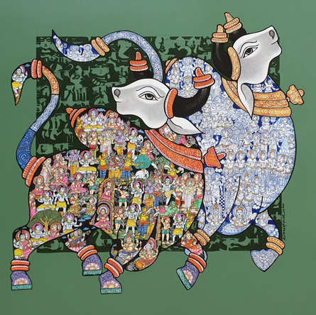 Animals Acrylic Art Painting title 'Nandi 64' by artist Vivek Kumavat