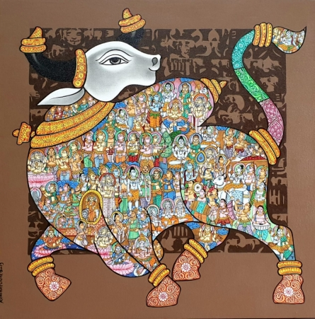 Animals Acrylic Art Painting title 'Nandi 65' by artist Vivek Kumavat