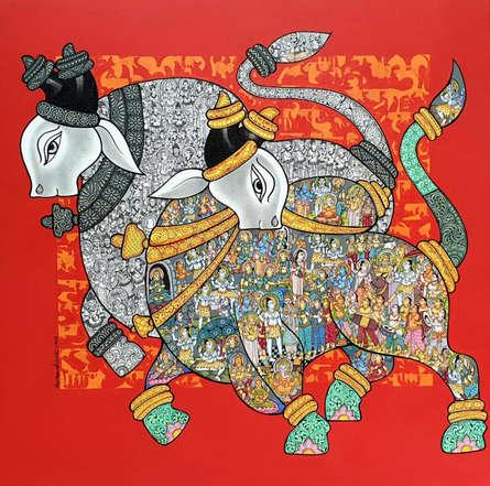 Animals Acrylic Art Painting title Nandi 65 by artist Vivek Kumavat