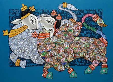 Animals Acrylic Art Painting title 'Nandi 72' by artist Vivek Kumavat