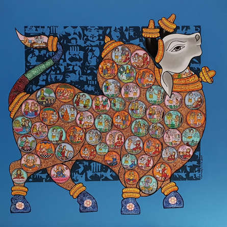 Animals Acrylic Art Painting title 'Nandi 58' by artist Vivek Kumavat