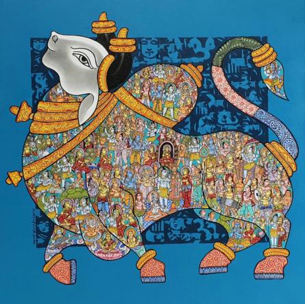 Animals Acrylic Art Painting title 'Nandi 71' by artist Vivek Kumavat