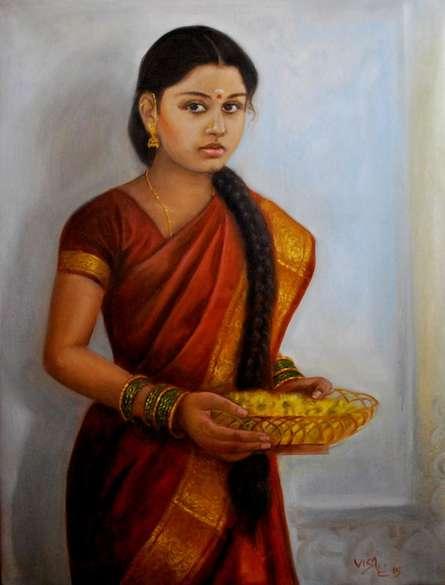 Figurative Oil Art Painting title Girl With Pooja Flowers by artist Vishalandra Dakur