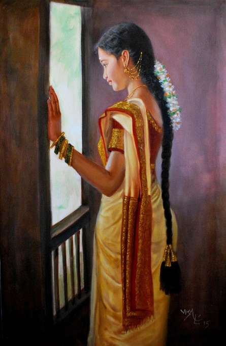 Girl By Window | Painting by artist Vishalandra Dakur | oil | Canvas
