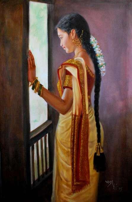 Girl By Window | Painting by artist Vishalandra Dakur | oil | Canvas