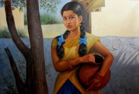 Figurative Oil Art Painting title 'Girl With Pot Of Water' by artist Vishalandra Dakur