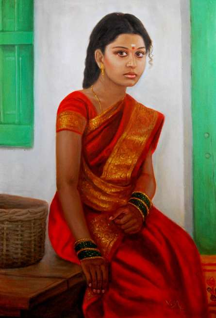 Figurative Oil Art Painting title 'Girl On Rustic Bench' by artist Vishalandra Dakur