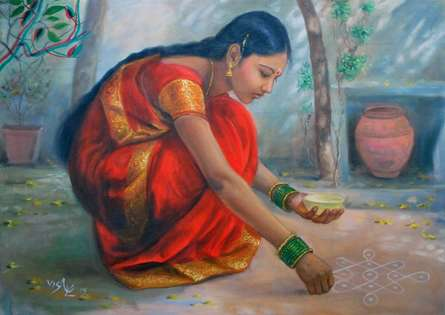 Figurative Oil Art Painting title 'Girl Laying Kolam' by artist Vishalandra Dakur