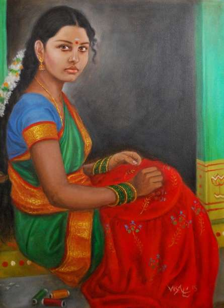 Figurative Oil Art Painting title 'Girl Doing Embroidery' by artist Vishalandra Dakur