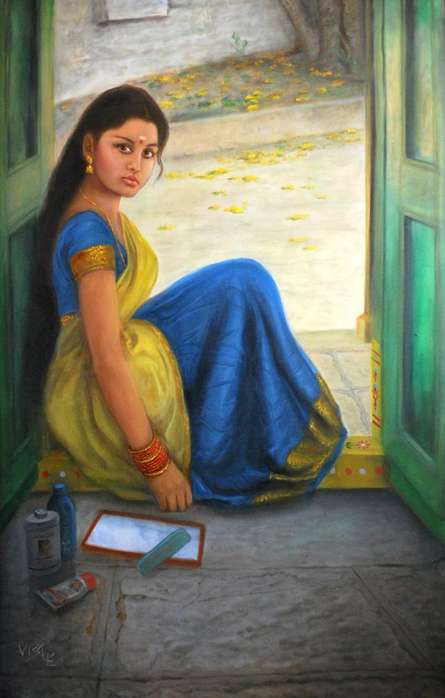 Girl Dressing Up | Painting by artist Vishalandra Dakur | oil | Canvas