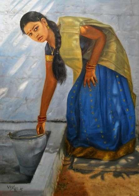 Figurative Oil Art Painting title 'Girl Washing' by artist Vishalandra Dakur