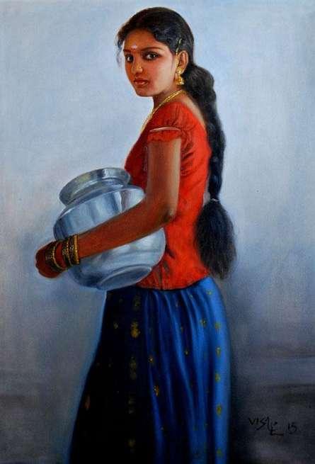 8Girl With Steel Pot | Painting by artist Vishalandra Dakur | oil | Canvas