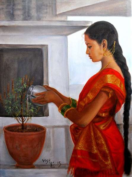 Figurative Oil Art Painting title Girl Doing Tulsi Pooja by artist Vishalandra Dakur