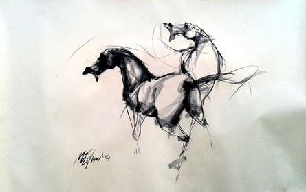 Animals Charcoal Art Drawing title 'Force' by artist Mithun Dutta