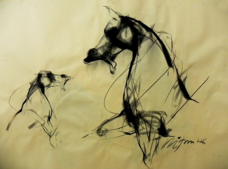 Animals Conte Art Drawing title 'Motion 1' by artist Mithun Dutta