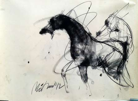 Animals Charcoal Art Drawing title Motion IX by artist Mithun Dutta