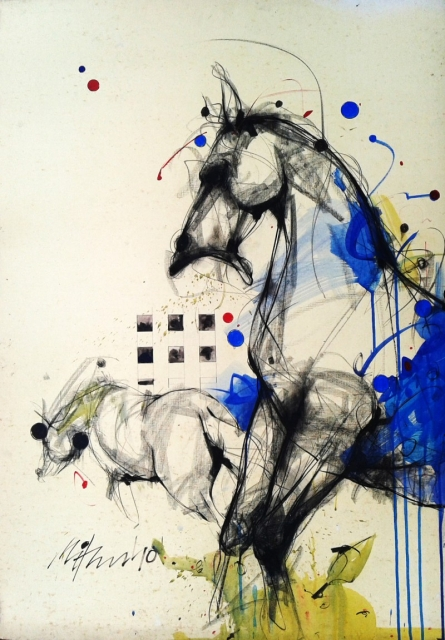 Animals Mixed-media Art Painting title 'Motion XI' by artist Mithun Dutta