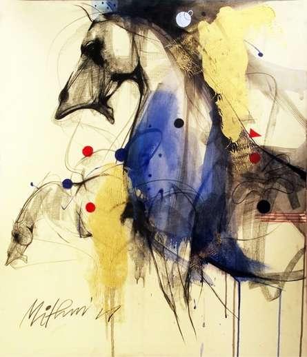 Horse I | Painting by artist Mithun Dutta | mixed-media | Board