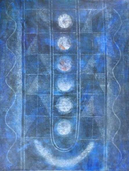 Abstract Mixed-media Art Painting title 'Titeeksha' by artist Hanumanth Devulapalli