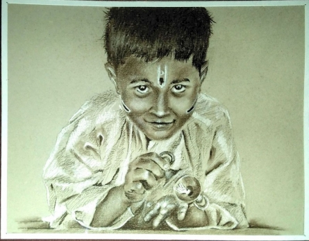 Warkari child | Painting by artist Akash Chavan | other | warkari child