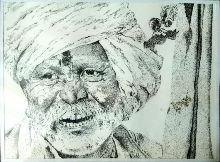Stippling with black pen | Painting by artist Akash Chavan | other | indian
