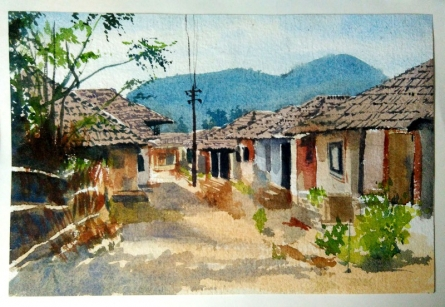 Indian village | Painting by artist Akash Chavan | watercolor | Paper