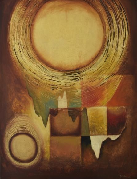 Abstract Mixed-media Art Painting title Circle of Life by artist Durshit Bhaskar