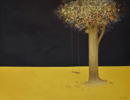 Nature Oil Art Painting title Dusk by artist Durshit Bhaskar