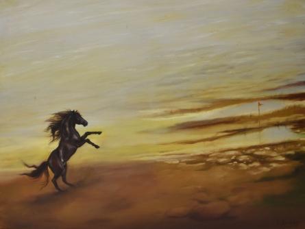 Still-life Oil Art Painting title Stallion by artist Durshit Bhaskar