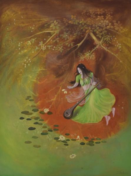 Figurative Oil Art Painting title Devotee by artist Durshit Bhaskar