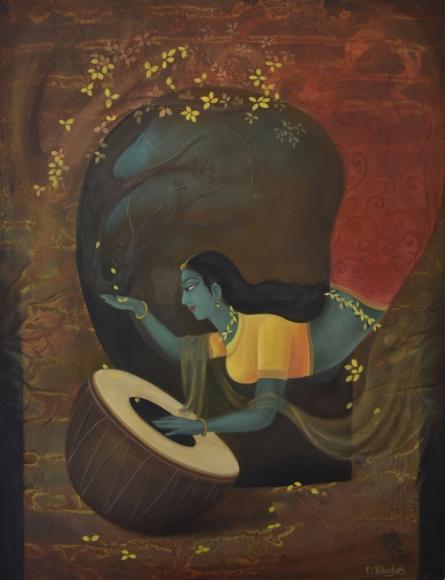 Figurative Oil Art Painting title Nature Sound by artist Durshit Bhaskar