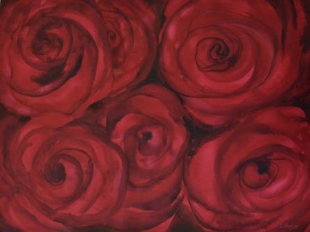 Nature Oil Art Painting title Roses I by artist Durshit Bhaskar