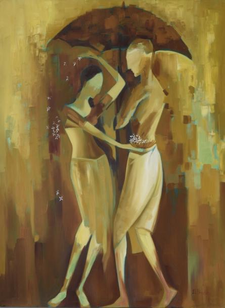 Figurative Oil Art Painting title 'Monsoon Love' by artist Durshit Bhaskar