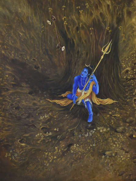 Religious Oil Art Painting title 'Damru and Trishul' by artist Durshit Bhaskar