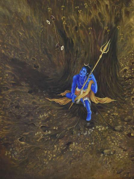 Religious Oil Art Painting title Damru and Trishul by artist Durshit Bhaskar