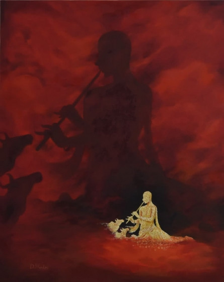 Kanha on my Mind | Painting by artist Durshit Bhaskar | oil | Canvas