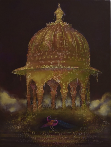 contemporary Oil Art Painting title 'Royal Gardens' by artist Durshit Bhaskar