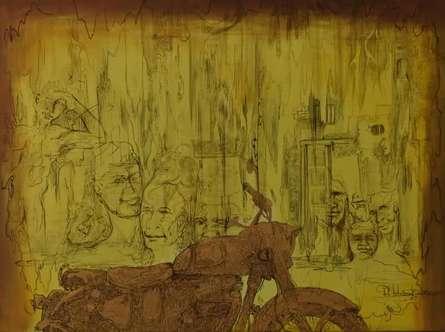 Lifestyle Oil Art Painting title 'Rider' by artist Durshit Bhaskar