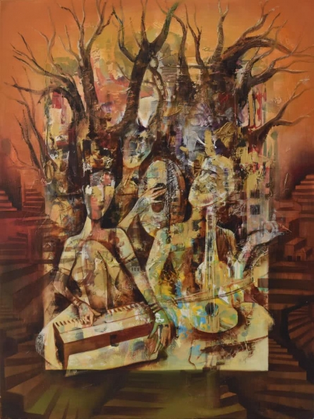 Music Oil Art Painting title 'Musicians' by artist Durshit Bhaskar
