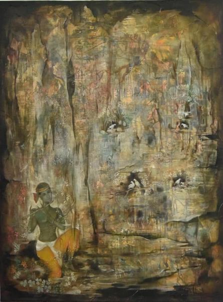 Krishna and the doves   Painting by artist Durshit Bhaskar   oil   Canvas