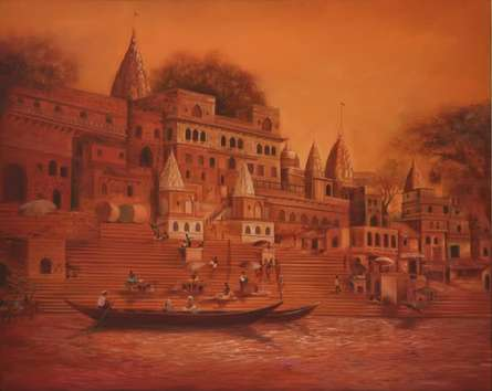 Durshit Bhaskar Paintings | Oil Painting - BANARAS GHAT by artist Durshit Bhaskar | ArtZolo.com