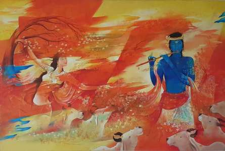 Religious Oil Art Painting title 'Radha Krishna' by artist Durshit Bhaskar