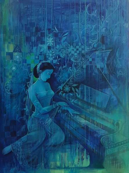 Pianist | Painting by artist Durshit Bhaskar | oil | Canvas