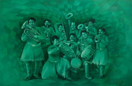 The Green Band | Painting by artist Durshit Bhaskar | oil | Canvas