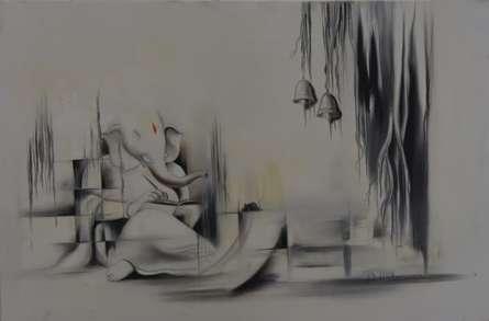 Religious Oil Art Painting title 'Ganesha Anantachidrupamayam' by artist Durshit Bhaskar